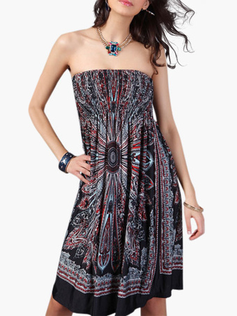 Strapless Sleeveless Pleated Printed Flare Summer Dress