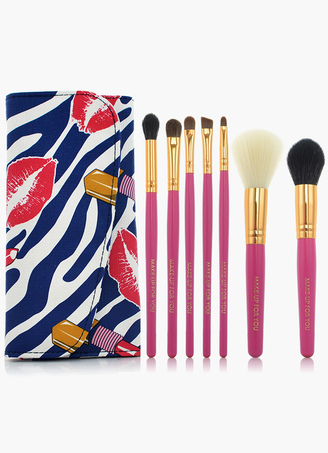 7pcs  Folded  High Quality Professional Make-Up Brush Sets In Rose Kiss