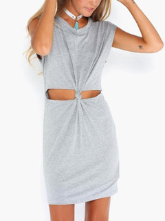 Cut Out Cotton Knotted Front Women's T-Shirt Bodycon Dress