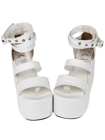 sandalias Lolita cuero Moda PU blanco pHwXq