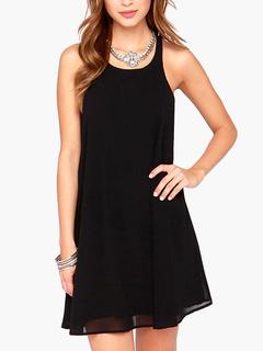 Black Backless Swing Dress
