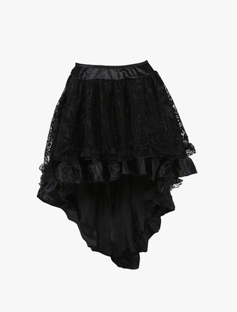 Black High Low Synthetic Retro Skirt For Woman