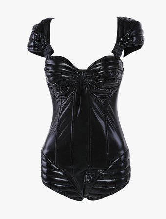 Sexy Black Glitter Padded Shoulder PU Leather Pole Dancing Clothes