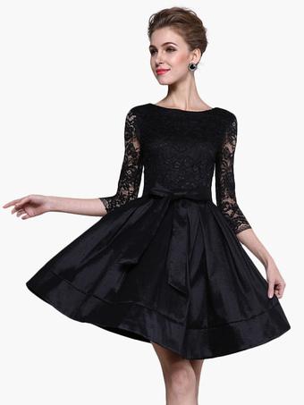 Acetate Bows High Waist Flare Dress