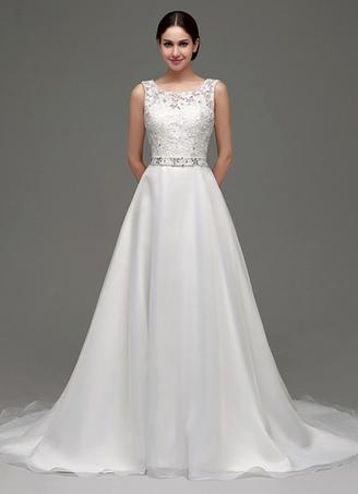 2d18cb5aac Vestido de novia de con cola de capilla tul línea A de con banda de encaje