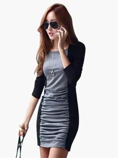 Color Block Long Sleeves Woman's Mini Dress