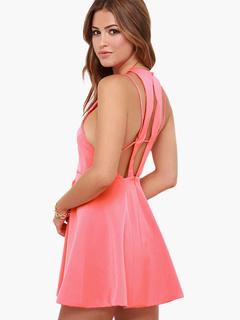 Sweet Crewneck Sleeveless Sexy Party Dress