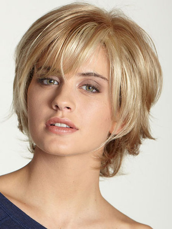 High Quality Chic Human Hair Swept-side Bangs Women's Short Wig In Flaxen
