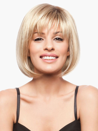 Classic Swept-Side Bangs Human Hair Women's Short Bobs Wig In Blonde