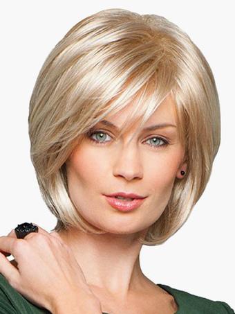 Chic Blonde Human Hair Women's Short Bobs Wig In Blonde