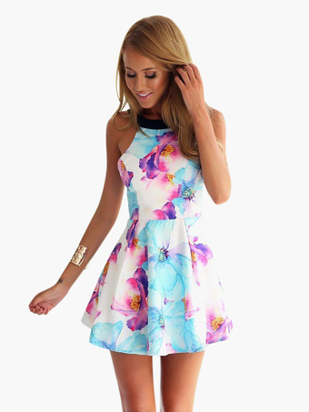 de04844833 Floral Skater Dress Women Sleeveless Short Summer Dress