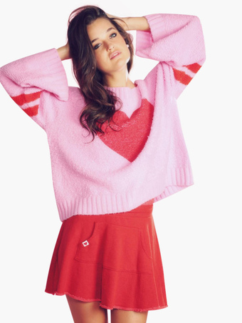 Hearts Pattern Oversized Pullovers