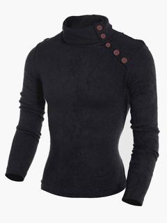 Smart Stand Collar Cotton Men's Pullover Knitwear