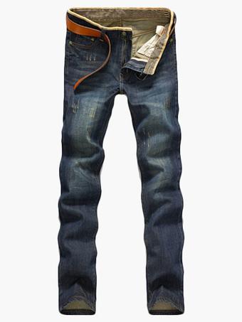 Comfy Deep Blue Cotton Blend Straight Men's Jeans