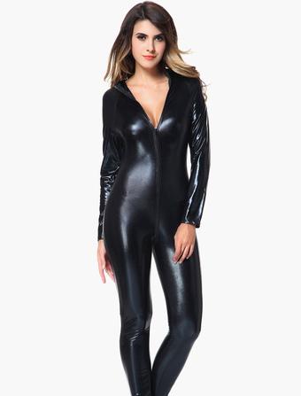 Charming Black Zipper Polyester Jumpsuit For Women