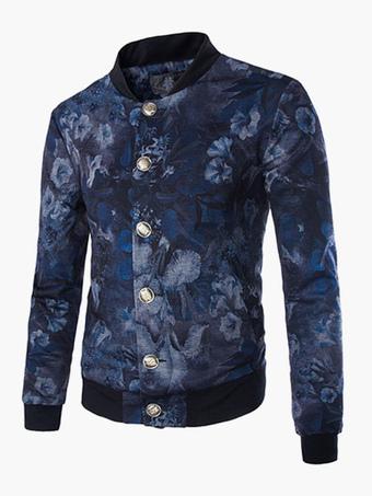 Casual Floral Print Cotton Blend Cool Jacket For Men