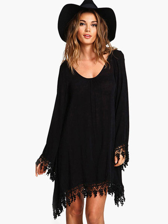 Black Long Sleeves Cotton Fabulous Shift Dress For Woman