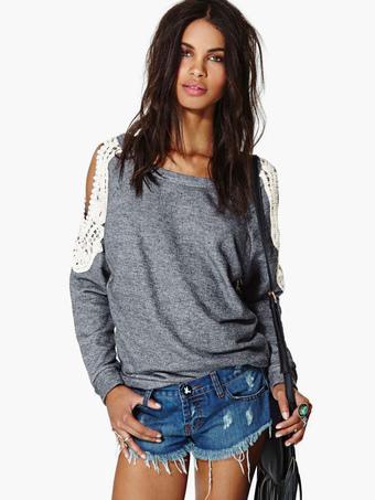 Lace Sweater Women Gray Pullovers Long Sleeves Women Sweaters