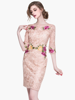 Floral Print Half Sleeves Embroidered Pencil Dress