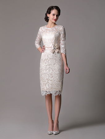 Wedding Guest Dresses Lace Sheath Champagne Cocktail Dress Knee Length Half Sleeves Mother Dress With Satin Belt
