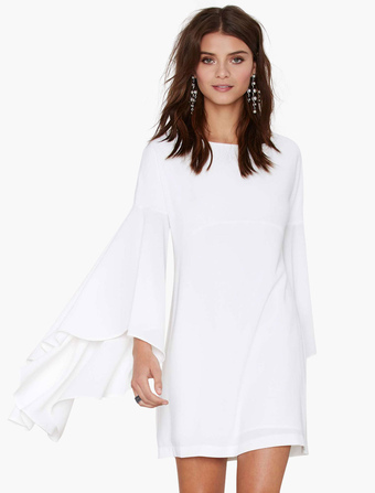 Little White Dress With Flared Sleeves