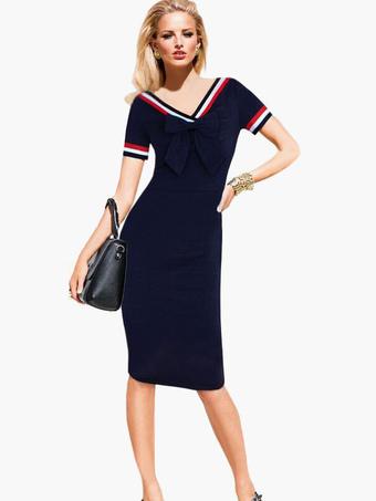 Dark Navy V-Neck Bows Cotton Blend Vintage Dress