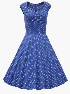 Square Neck Cotton Blend Vintage Dress For Women