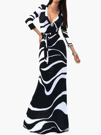 3/4 Length Sleeves Polyester Printed Open Bust Women's Maxi Dress