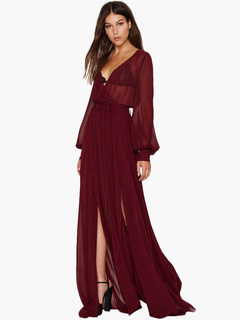Long Sleeves Rayon Pleated Woman's Maxi Dress