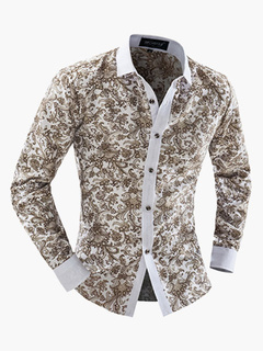 Multi Color Stand Collar Cotton Casual Floral Shirt For Man
