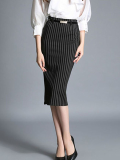 Black Pencil Skirt For Business Woman With Stripes