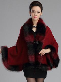 Ombre V-Neck Luxury Faux Fur V-Neck Poncho Coat