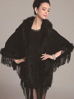 Black Poncho Knitwear Oversized Sweater Women Hoodie Coat Faux Fur Shawl Collar Sweater