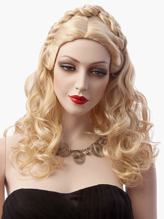Golden Hair Braids Long Curly Women's Wig Cinderella Cosplay Wigs In Sythentic 22 Inches