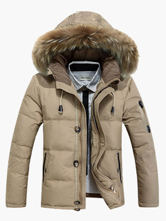 Khaki Quilted Overcoat Furry Hood Polyester Overcoat Khaki Winter Down Coat