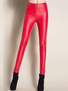 Soft Woman's Stretchy PU Leather Leggings