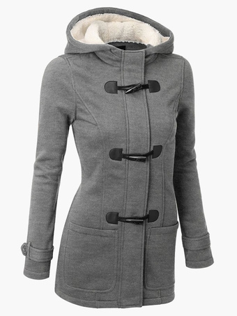 Duffle Coat Women Shearling Jacket Hoodie Gray Coat Winter Grey Jackets