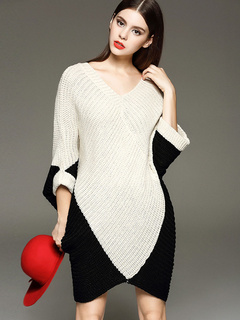 Pretty Women's Color Block V-neck Knitted Dress