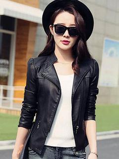 Women Leather Jacket Black Motorcycle Leather Coat Zippered Coat