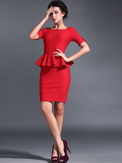 Scoop Neck Ruffles Short Sleeves Fake Two-Piece Dress