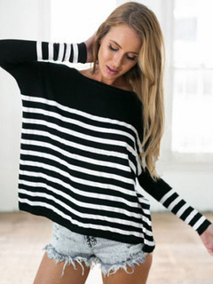 Oversized Cotton Stripes Long Sleeves Jewel Neck Tee Shirt