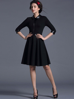 Spread Neck 3/4 Length Sleeves PU Pleated Party Dress