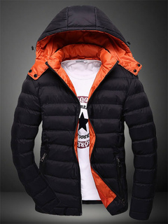 Fashion Two-Tone Men's Hooded Cotton-padded Jacket