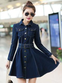 Milanoo / Vintage Turndown Collar Long Sleeves Pockets Denim Flared Dress