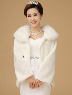 Qaulity Long Sleeves Bridal Wedding Faux Fur Coat