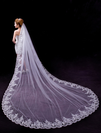 Lace Tulle One-Tier Scalloped Edge 350cm Bride's Wedding Veils