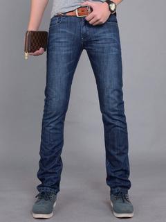 e88cb65ca9 Azul profundo pantalones vaqueros recto Cool para hombres