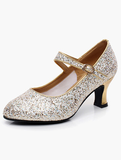 e0049b9b8 Latin Dance Shoes Sequined Almond Mary Jane Dance Shoes Gold Ballroom Shoes