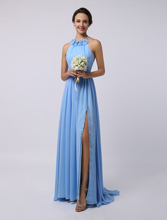 Floor-Length High-split Halter A-Line Draped Chiffon Bridesmaid Dress
