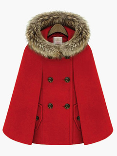 Women Red Coat Faux Fur Peacoat  Hoodie Poncho Coat Wrap Jacket